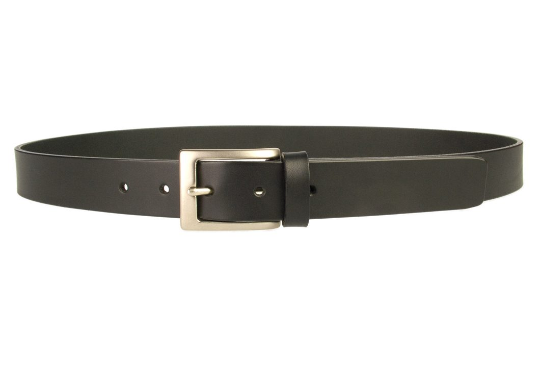 Mens Leather Suit Belt Made in UK | Black | 30 mm Wide | Hand Brushed Nickel Plated Buckle | Made In UK | Front Image