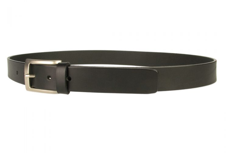 Mens Leather Suit Belt Made in UK| Black | 30 mm Wide | Hand Brushed Nickel Plated Buckle |Made In UK | Left Facing Image