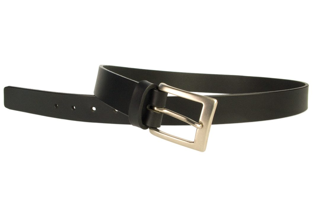 Mens Leather Suit Belt Made in UK | Black | 30 mm Wide | Hand Brushed Nickel Plated Buckle |Made In UK | Open Image 1