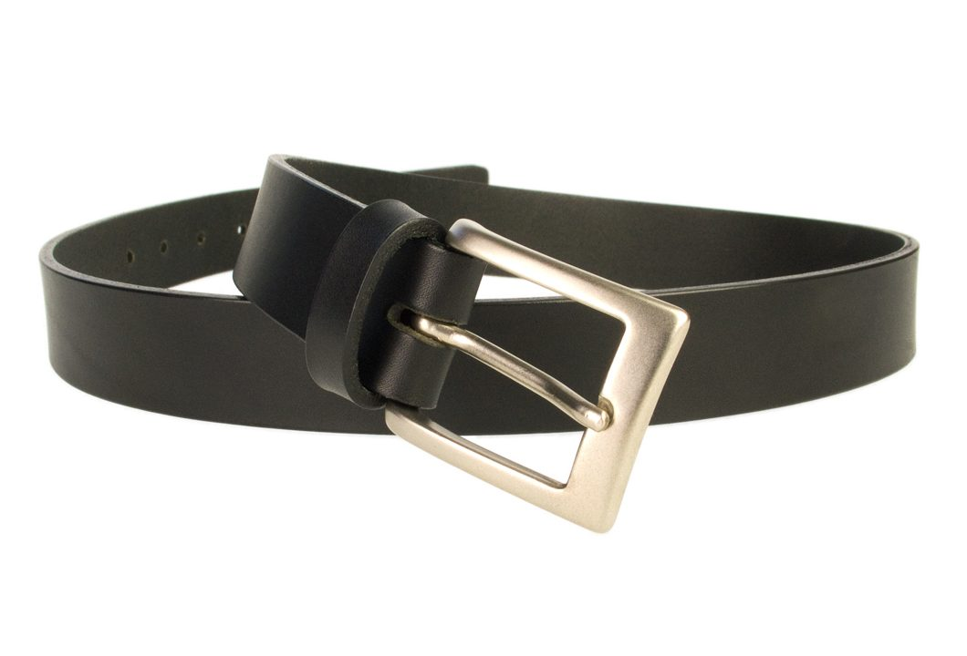 Mens Leather Suit Belt Made in UK | Black | 30 mm Wide | Hand Brushed Nickel Plated Buckle |Made In UK | Open Image 2