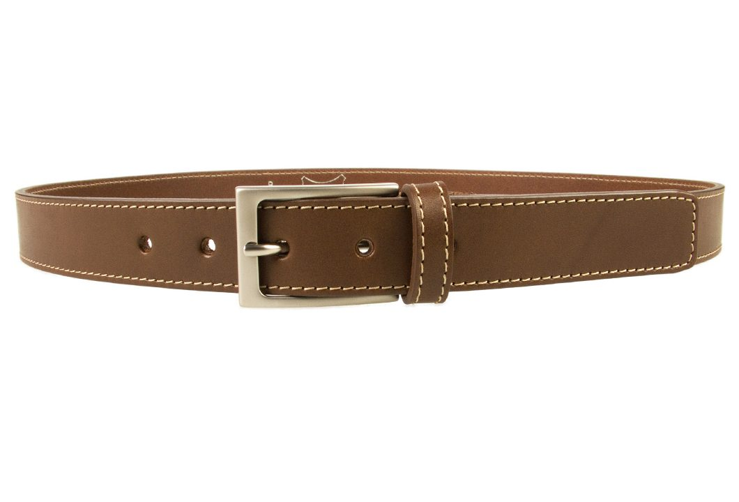 Mens Brown Leather Belt With Contrasting Stitched Edge, Matt Nickel Plated Buckle, 30mm Wide, Made In UK, Front Image