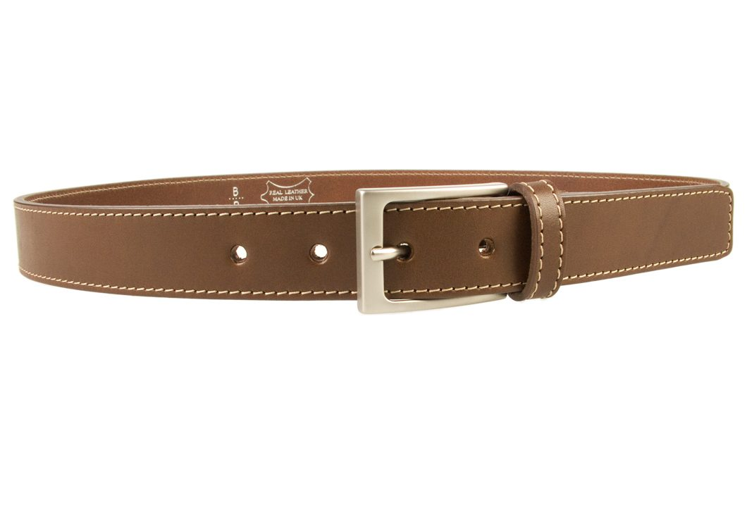Mens Brown Leather Belt With Contrasting Stitched Edge, Matt Nickel Plated Buckle, 30mm Wide, Made In UK, Right Facing Image
