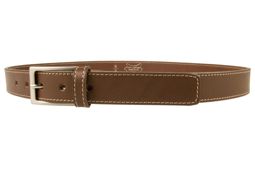 Mens Brown Leather Belt With Contrasting Stitched Edge, Matt Nickel Plated Buckle, 30mm Wide, Made In UK, Left Facing Image