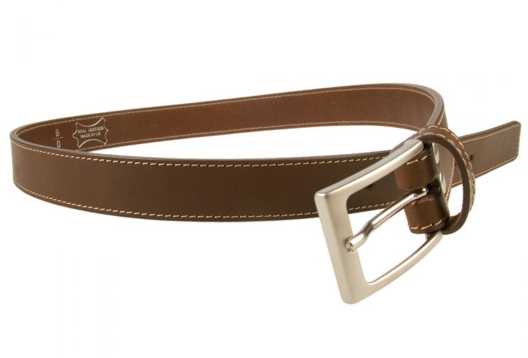 Mens Brown Leather Belt With Contrasting Stitched Edge, Matt Nickel Plated Buckle, 30mm Wide, Made In UK, Open Image 1