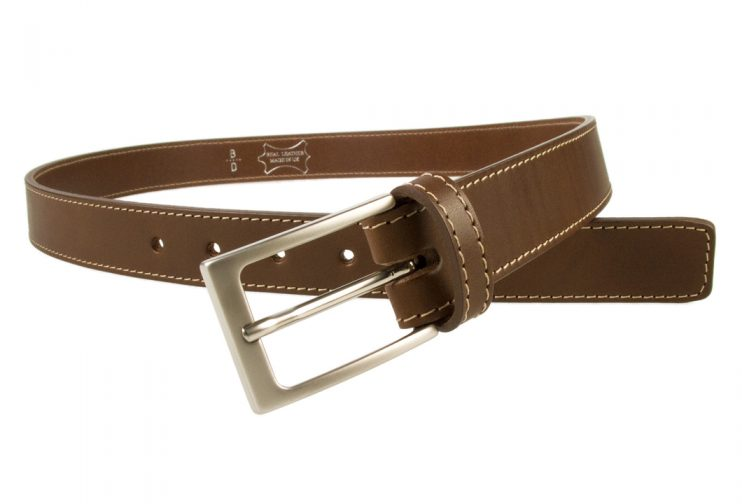Mens Brown Leather Belt With Contrasting Stitched Edge, Matt Nickel Plated Buckle, 30mm Wide, Made In UK, Open Image 2