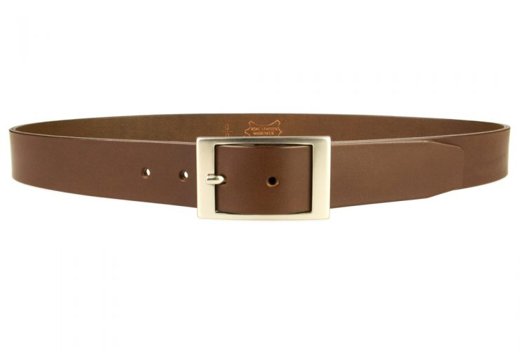 Mens Quality Leather Belt Made In UK - Brown - 35mm Wide - Hand Brushed Nickel Plated Buckle - Front View