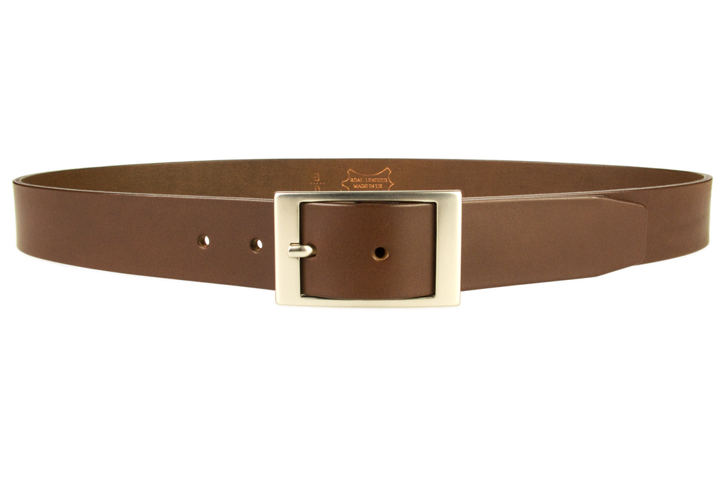 mens quality leather belt made in uk brown 35mm wide