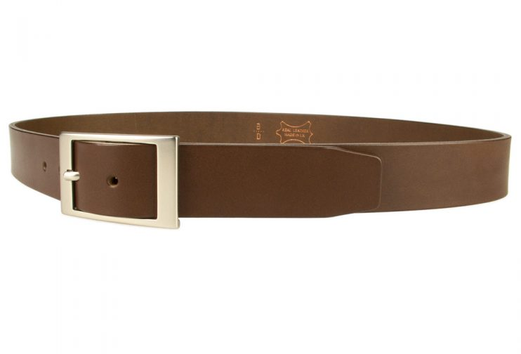 Mens Quality Leather Belt Made In UK - Brown - 35mm Wide - Hand Brushed Nickel Plated Buckle - Left Facing Image