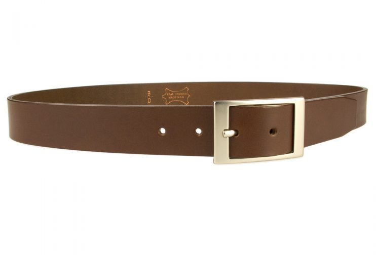 Mens Quality Leather Belt Made In UK - Brown - 35mm Wide - Hand Brushed Nickel Plated Buckle - Right Facing Image