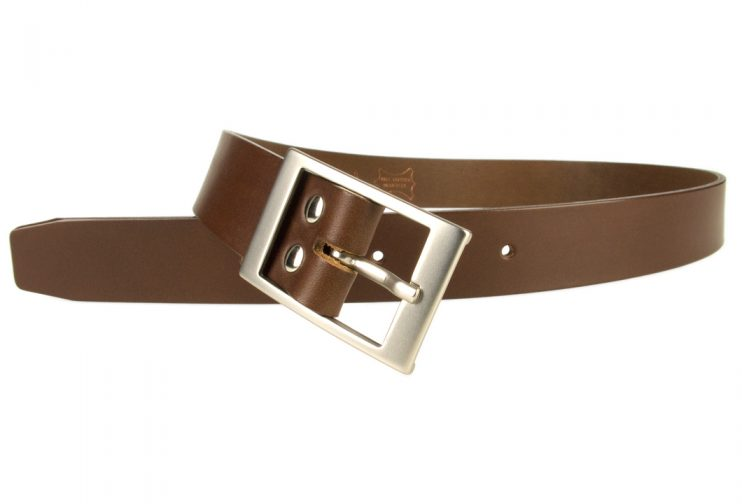 Mens Quality Leather Belt Made In UK - Brown - 35mm Wide - Hand Brushed Nickel Plated Buckle - Open Image 1