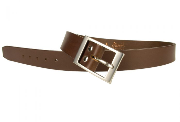 Mens Quality Leather Belt Made In UK - Brown - 35mm Wide - Hand Brushed Nickel Plated Buckle - Open Image 2