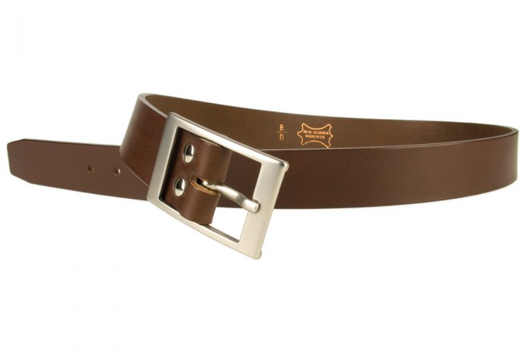 Mens Quality Leather Belt Made In UK - Brown - 35mm Wide - Hand Brushed Nickel Plated Buckle - Open Image 3