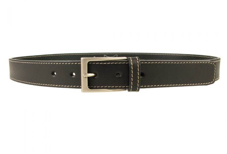 Stitched Belt | Black Leather | 30 mm Wide | Contrasting Stitched Edge | Matt Nickel Plated Buckle | Made In UK | Front Image