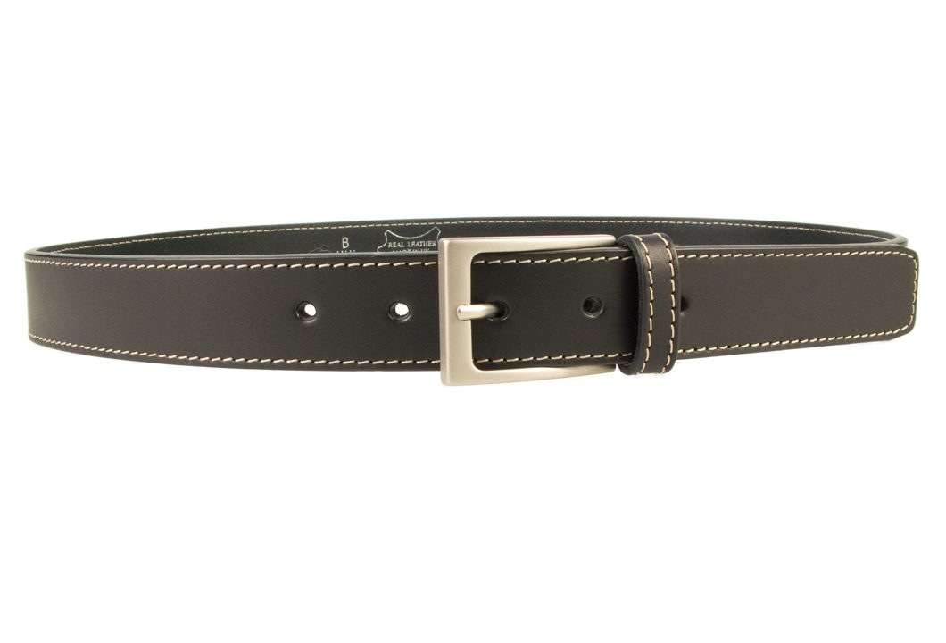 Stitched Belt | Black Leather | 30 mm Wide | Contrasting Stitched Edge | Matt Nickel Plated Buckle | Made In UK | Right Facing Image