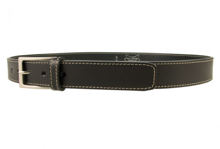 Stitched Belt | Black Leather | 30 mm Wide | Contrasting Stitched Edge | Matt Nickel Plated Buckle | Made In UK | Left Facing Image