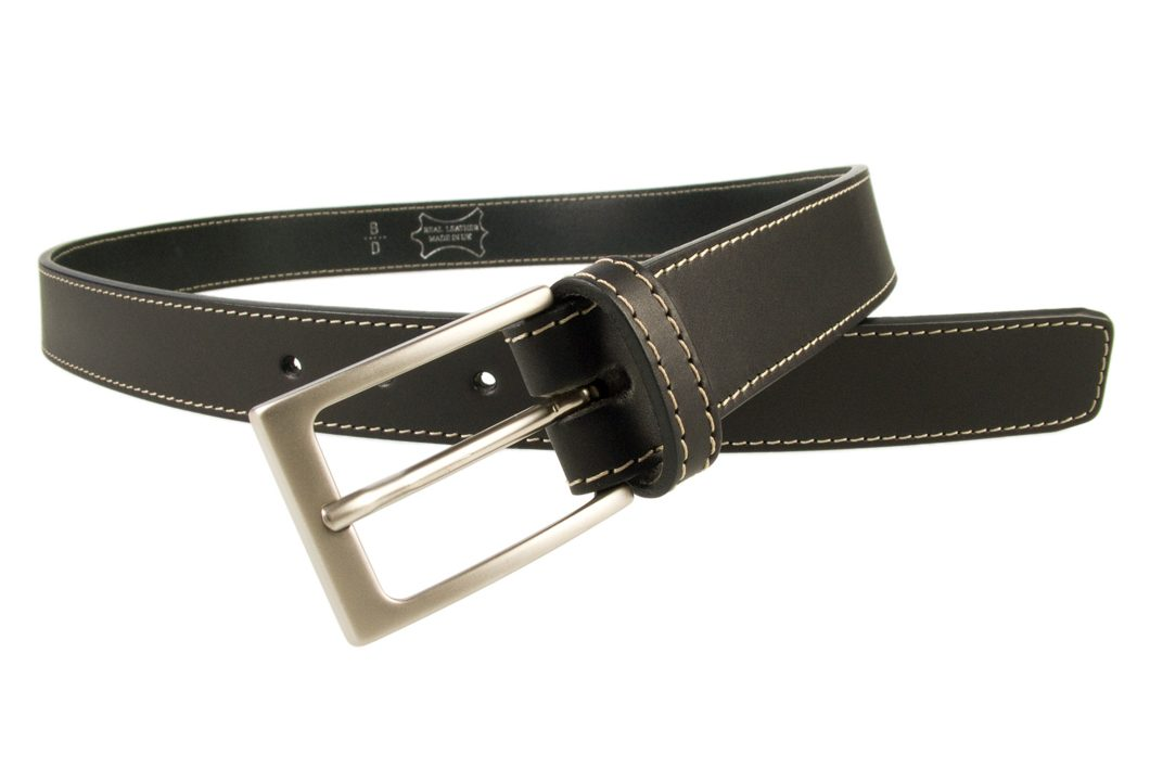 Stitched Belt | Black Leather | 30 mm Wide | Contrasting Stitched Edge | Matt Nickel Plated Buckle | Made In UK | Open Image 1