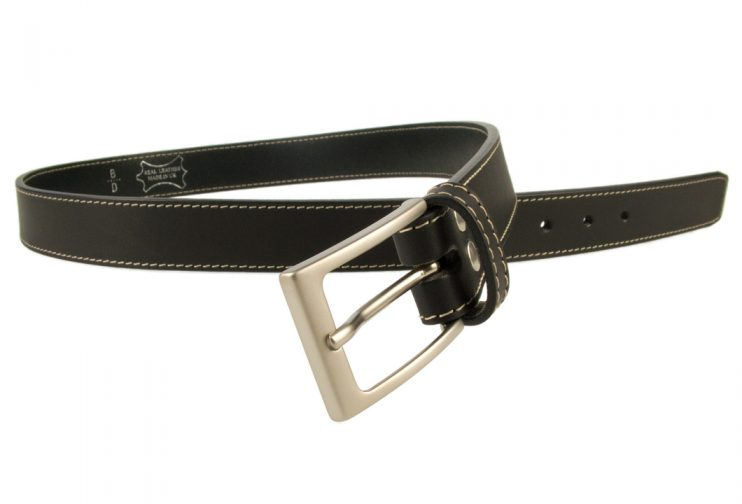 Stitched Belt | Black Leather | 30 mm Wide | Contrasting Stitched Edge | Matt Nickel Plated Buckle | Made In UK | Open Image 2