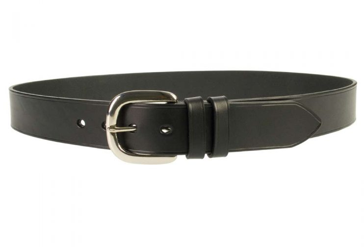 Hand Finished Leather Belt - Made In UK - Black | 38mm Wide | Two Fixed Keepers | Italian Full Grain Vegetable Tanned Leather | Solid Brass Buckle| Made In UK | Front Image