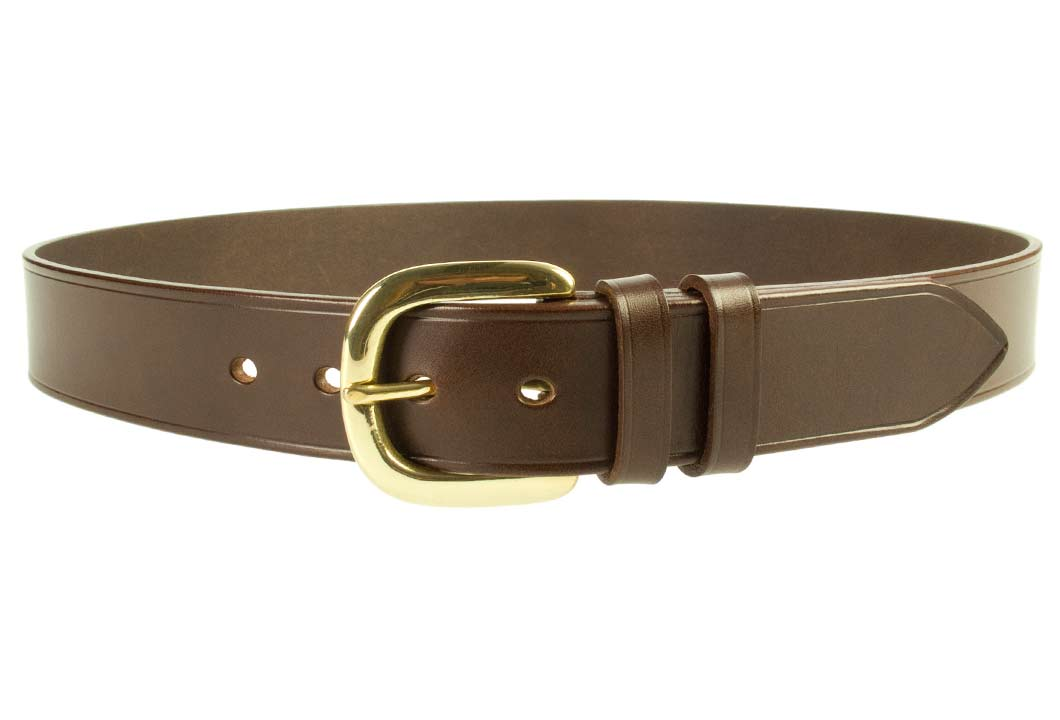 Hand Finished Leather Belt - Made In UK - Brown | 38mm Wide | Two Fixed Keepers | Italian Full Grain Vegetable Tanned Leather | Solid Brass Buckle| Made In UK | Front Image