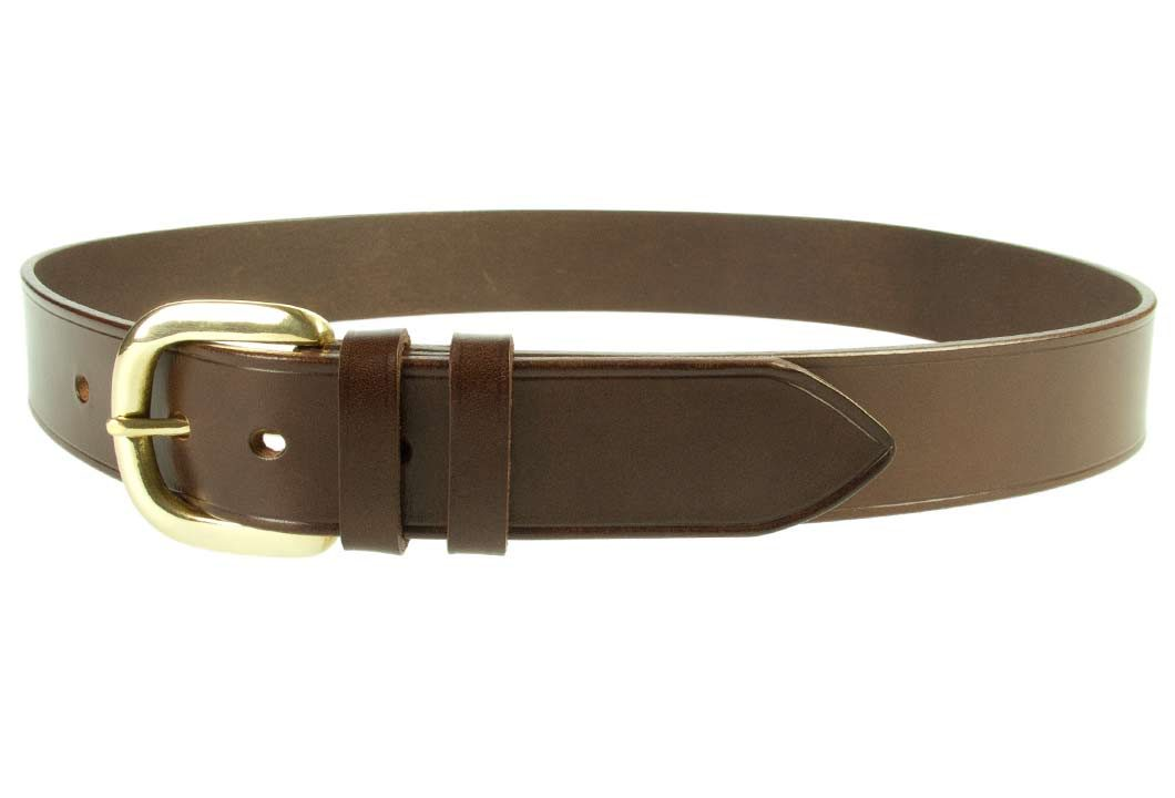 Hand Finished Leather Belt - Made In UK - Brown | 38mm Wide | Two Fixed Keepers | Italian Full Grain Vegetable Tanned Leather | Solid Brass Buckle| Made In UK | Left Facing Image