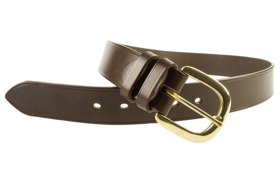 Hand Finished Leather Belt - Made In UK - Brown | 38mm Wide | Two Fixed Keepers | Italian Full Grain Vegetable Tanned Leather | Solid Brass Buckle| Made In UK | Open Image 2