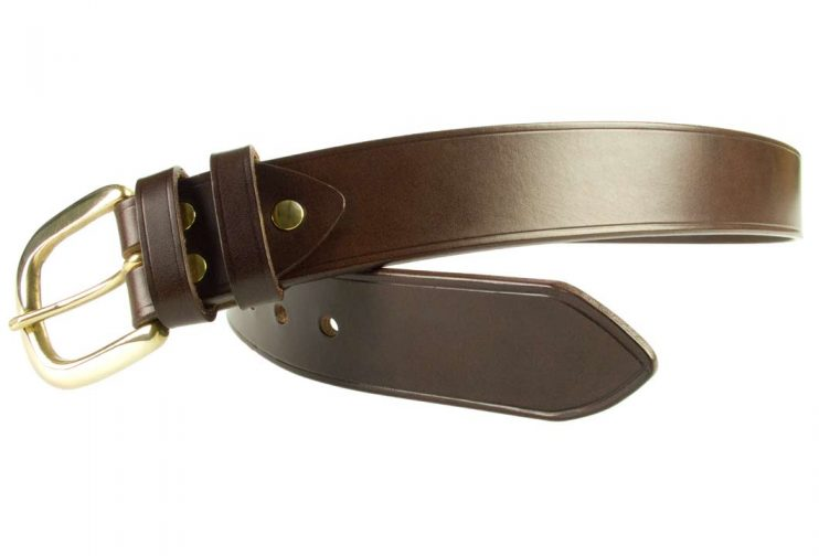 Hand Finished Leather Belt - Made In UK - Brown | 38mm Wide | Two Fixed Keepers | Italian Full Grain Vegetable Tanned Leather | Solid Brass Buckle| Made In UK | Open Image 3