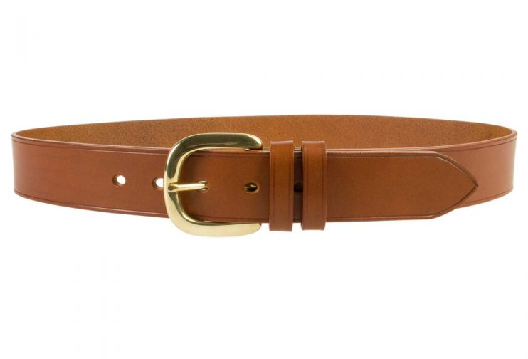 Hand Finished Leather Belt - Made In UK - Tan | 48mm Wide | Two Fixed Keepers | Italian Full Grain Vegetable Tanned Leather | Solid Brass Buckle| Made In UK | Front Image