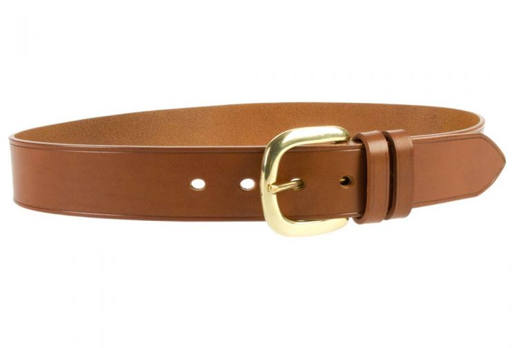 Hand Finished Leather Belt - Made In UK - Tan | 48mm Wide | Two Fixed Keepers | Italian Full Grain Vegetable Tanned Leather | Solid Brass Buckle| Made In UK | Right Facing Image