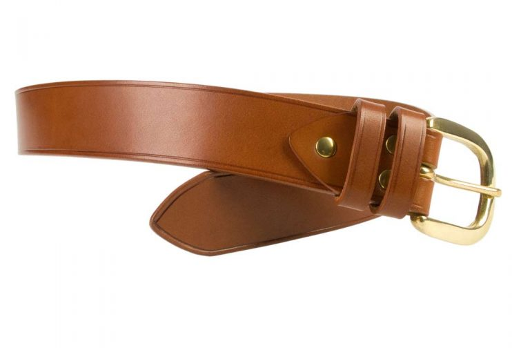 Hand Finished Leather Belt - Made In UK - Tan | 48mm Wide | Two Fixed Keepers | Italian Full Grain Vegetable Tanned Leather | Solid Brass Buckle| Made In UK | Open Image 2