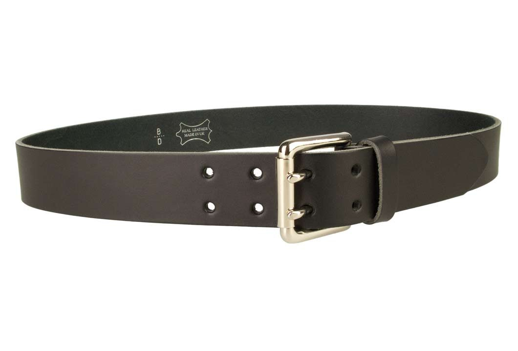 Jeans Belt - Double Prong Roller Buckle | Black | Nickel Plated Solid Brass Double Prong Roller Buckle | 39 cm Wide 1.5 inch | Italian Full Grain Vegetable Tanned Leather | Made In UK | Right Facing Image