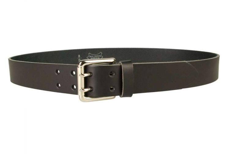Jeans Belt - Double Prong Roller Buckle | Black | Nickel Plated Solid Brass Double Prong Roller Buckle | 39 cm Wide 1.5 inch | Italian Full Grain Vegetable Tanned Leather | Made In UK | Front Image
