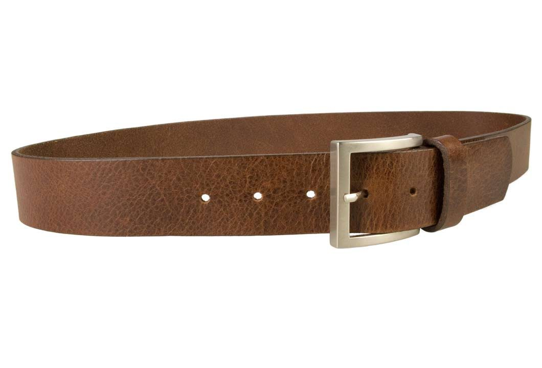 Mens Leather Jeans Belt | Brown | Rough Brushed Matt Nickel Plated Buckle | 40 cm Wide 1.5 inch | Italian Full Grain Vegetable Tanned Leather | Made In UK | Right Facing Image
