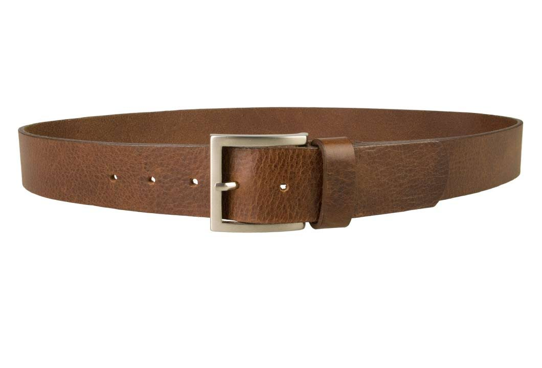 Mens Leather Jeans Belt | Brown | Rough Brushed Matt Nickel Plated Buckle | 40 cm Wide 1.5 inch | Italian Full Grain Vegetable Tanned Leather | Made In UK | Front Image