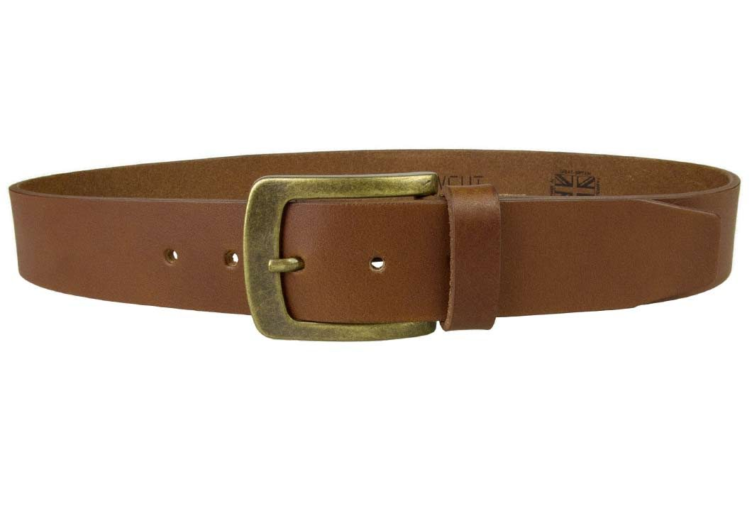 Tan Leather Jeans Belt | 40mm Wide | Italian Full Grain Vegetable Tanned Leather | Old Brass Look Buckle | Made In UK | Front Image