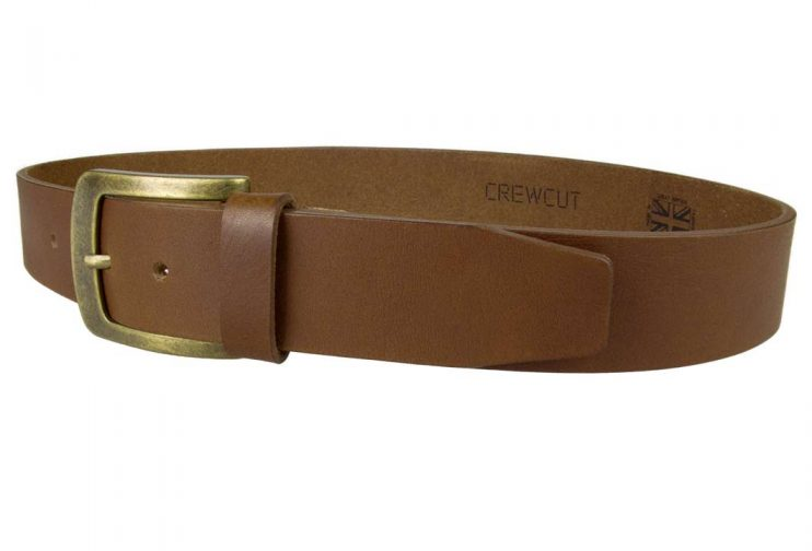 Tan Leather Jeans Belt | 40mm Wide | Italian Full Grain Vegetable Tanned Leather | Old Brass Look Buckle | Made In UK | Left Facing Image