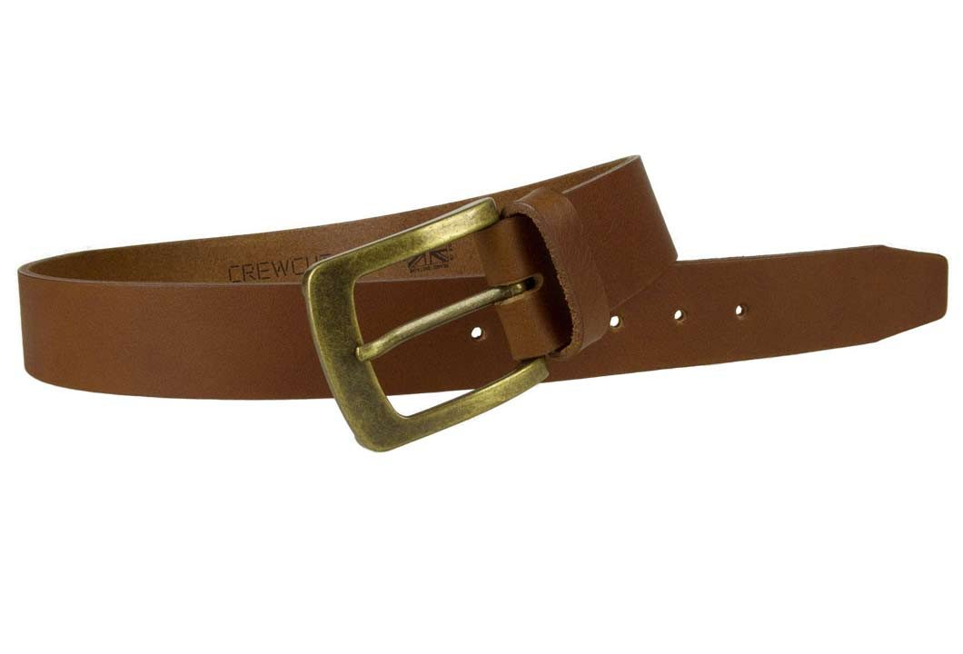 Tan Leather Jeans Belt | 40mm Wide | Italian Full Grain Vegetable Tanned Leather | Old Brass Look Buckle | Made In UK | Open Image 1