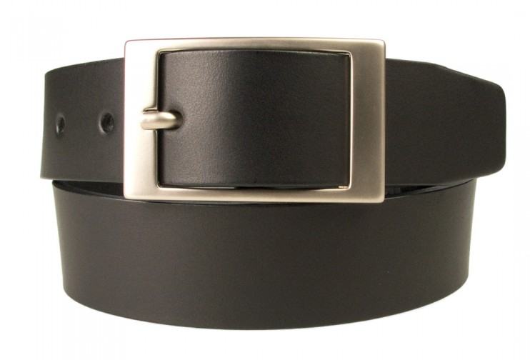 Mens Quality Leather Belt Made In UK - Black - 35mm Wide - Hand Brushed Nickel Plated Buckle - Front Rolled View