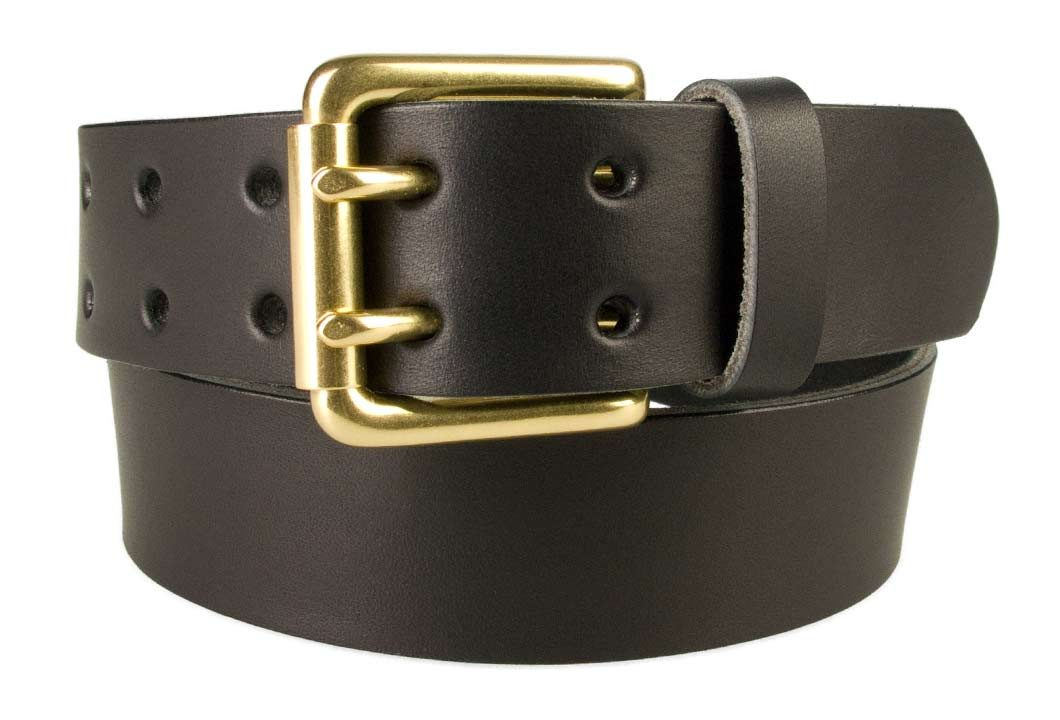 Double Prong Leather Jeans Belt   Black   Solid Brass Double Prong Roller Buckle   39 cm Wide 1.5 inch   Italian Full Grain Vegetable Tanned Leather   Made In UK   Front Image