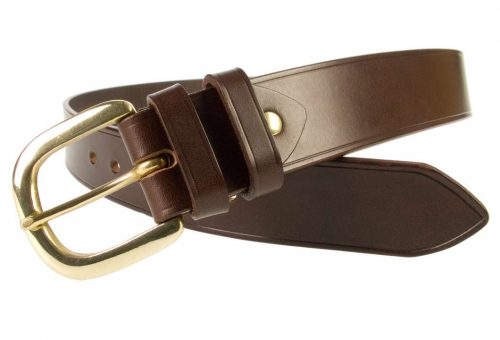 Hand Finished Leather Belt - Made In UK - Brown| 38mm Wide | Two Fixed Keepers | Italian Full Grain Vegetable Tanned Leather | Solid Brass Buckle| Made In UK | Open Image 1