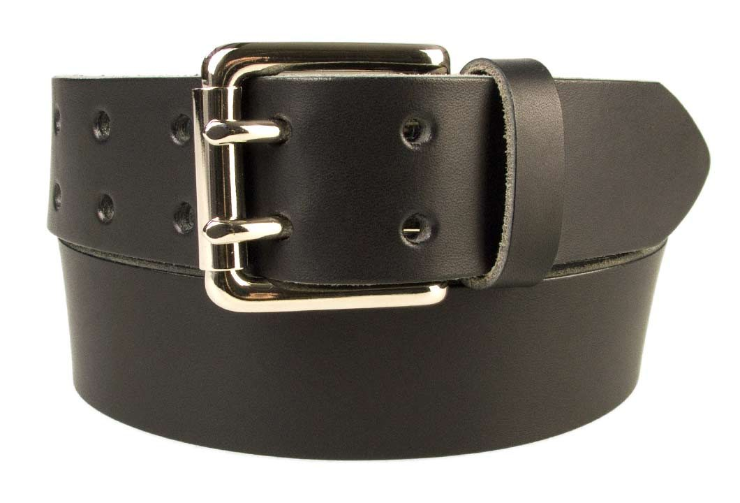 Jeans Belt - Double Prong Roller Buckle | Black | Nickel Plated Solid Brass Double Prong Roller Buckle | 39 cm Wide 1.5 inch | Italian Full Grain Vegetable Tanned Leather | Made In UK | Front Rolled Image