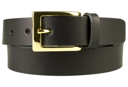 Mens Black Leather Belt With Gold Buckle | 30mm Wide | Gold Plated Buckle | High Quality Vegetable Tanned Leather | Made In UK | Front Rolled Image