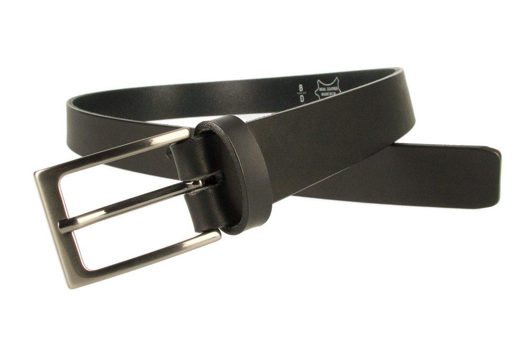 Mens Black Leather Belt With Gun Metal Buckle   Black   30 mm Wide    Made In UK   Open Image 2