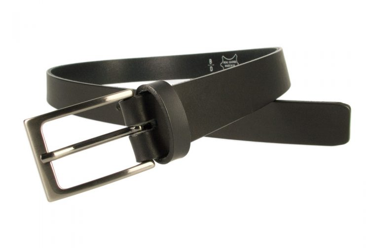 Mens Black Leather Belt With Gun Metal Buckle | Black | 30 mm Wide | |Made In UK | Open Image 2