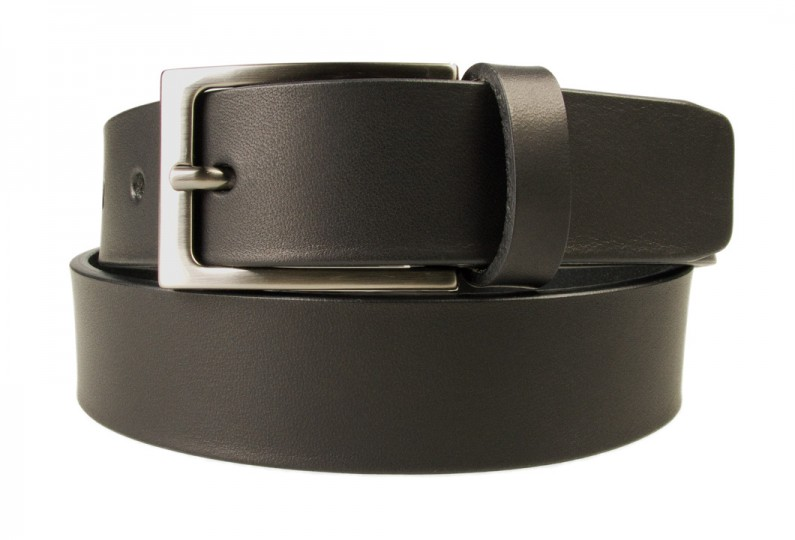 Mens Black Leather Belt With Gun Metal Buckle | Black | 30 mm Wide | |Made In UK | Front Rolled Image
