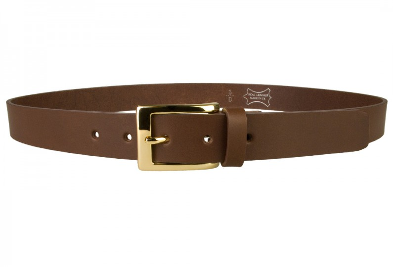 Mens Brown Leather Belt With Gold Buckle | Gold Plated Italian Made Buckle | High Quality Italian Vegetable Tanned Leather | 30mm Wide | Made In UK by Belt Designs | Front Image