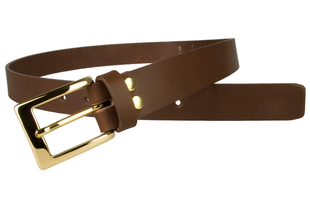 Mens Brown Leather Belt With Gold Buckle | Gold Plated Italian Made Buckle | High Quality Italian Vegetable Tanned Leather | 30mm Wide | Made In UK by Belt Designs | Open Image 2