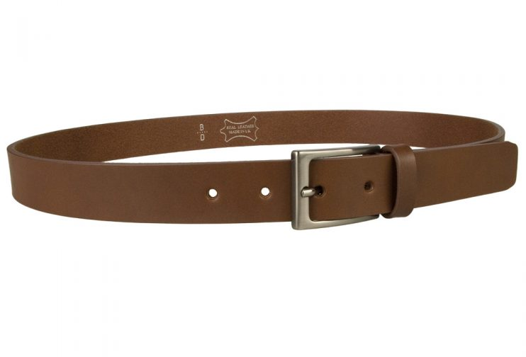 Mens Brown Leather Belt With Gun Metal Buckle, 30 mm Wide, Made In UK, Right Facing Image