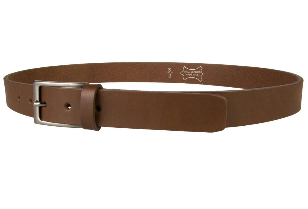 Mens Brown Leather Belt With Gun Metal Buckle, 30 mm Wide, Made In UK, Left Facing Image