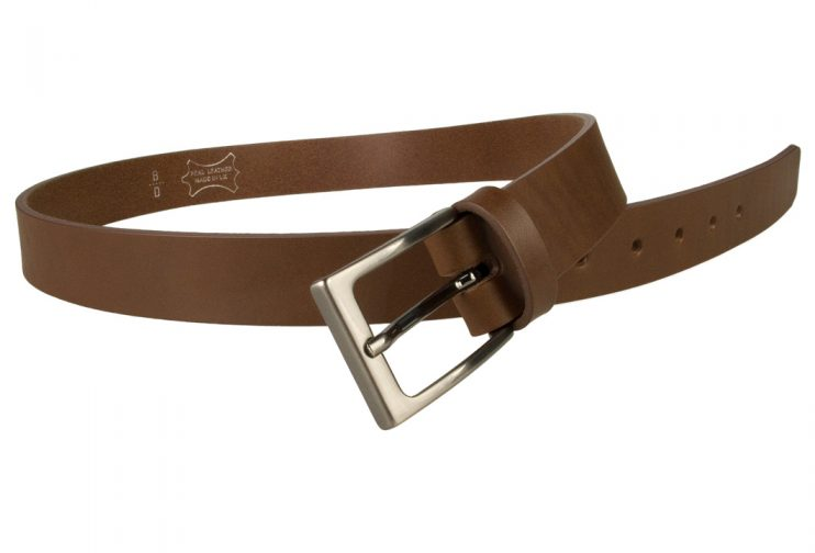 Mens Brown Leather Belt With Gun Metal Buckle, 30 mm Wide, Made In UK, Open Image 1