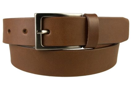 Mens Brown Leather Belt With Gun Metal Buckle, 30 mm Wide, Made In UK, Front Rolled Image
